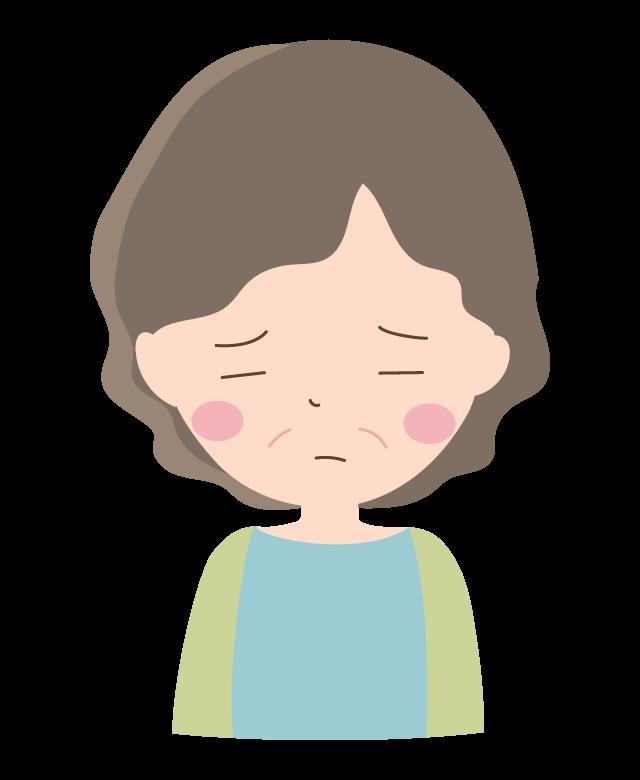 悲しい表情のおばあちゃんのイラスト