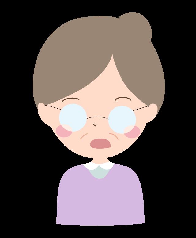 驚いた表情のおばあちゃんのイラスト