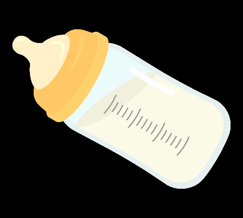 ミルクが入った哺乳瓶のイラスト