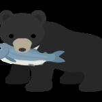 鮭をくわえている熊のイラスト