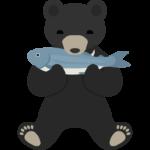 鮭をくわえている熊のイラスト02