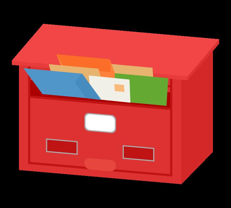 レターでいっぱいになった郵便ポストのイラスト