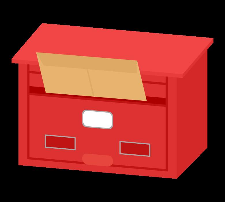 レターが投函された郵便ポストのイラスト
