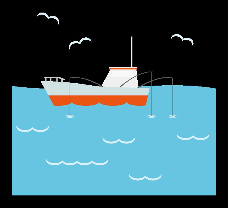 釣り/漁船のイラスト