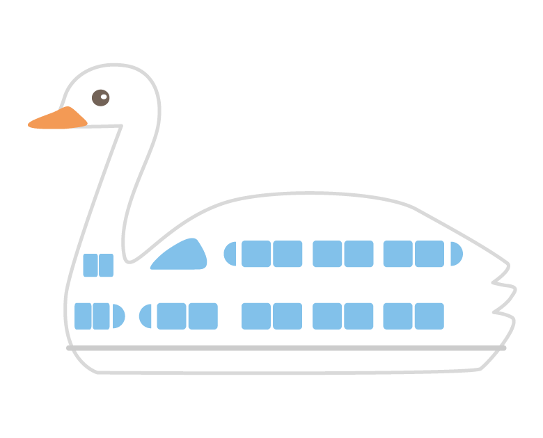スワンの遊覧船のイラスト