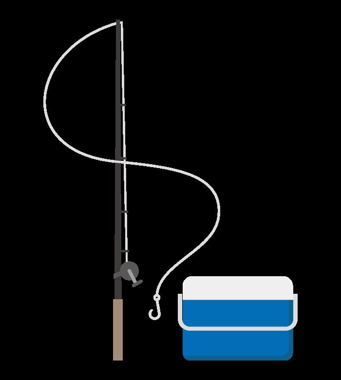 釣り竿とクーラーボックスのイラスト