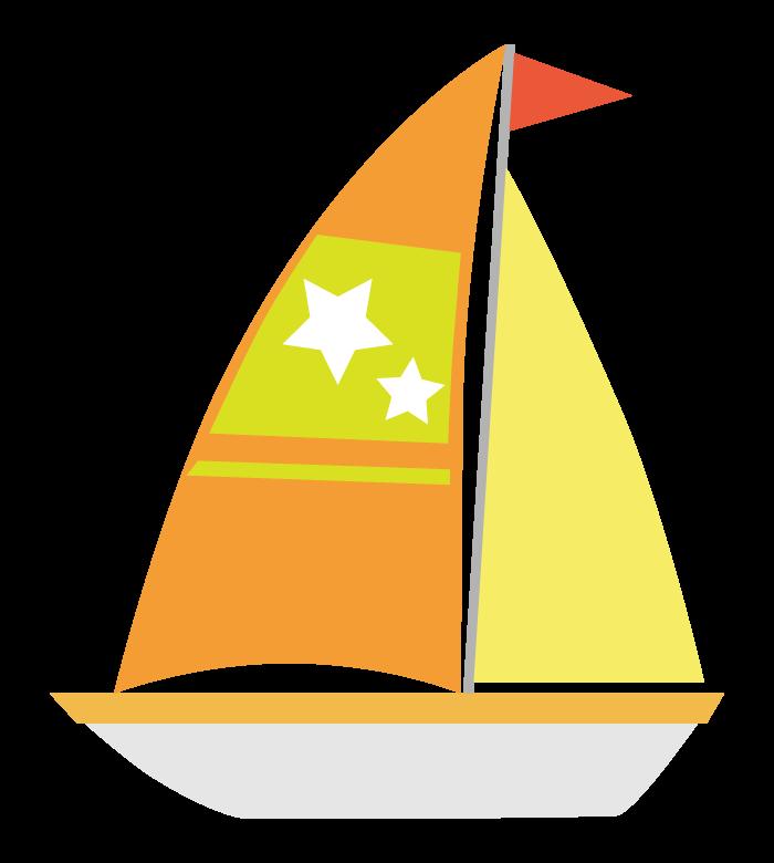 オレンジの帆のヨットのイラスト