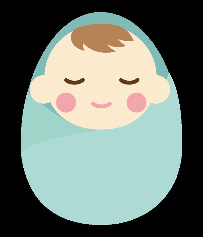 おくるみで寝ている赤ちゃんのイラスト