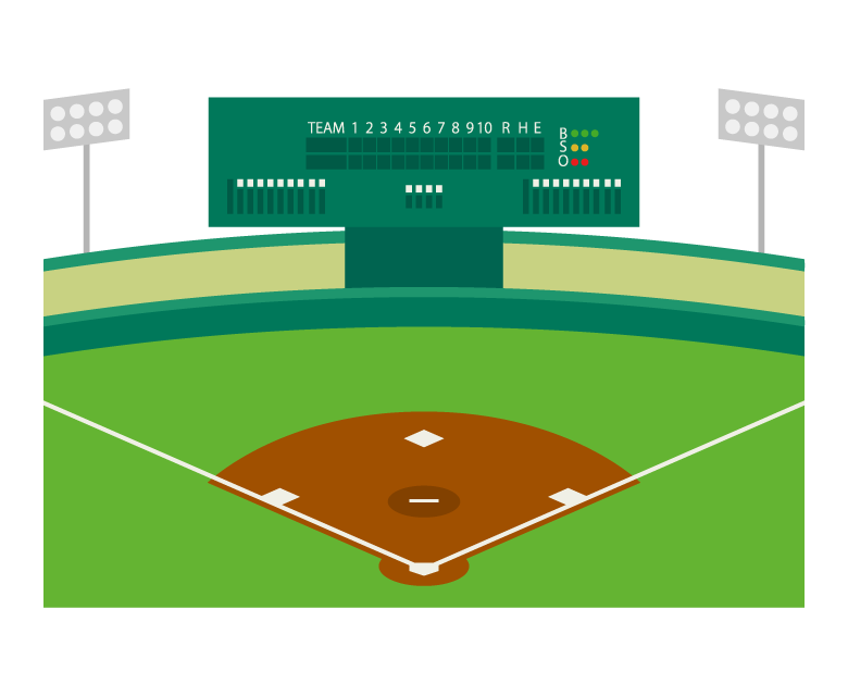 野球場とスコアボードのイラスト