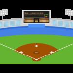 野球場とスコアボード(電光)のイラスト