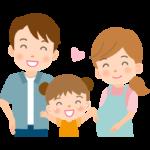 かわいい女の子と夫婦の家族イラスト