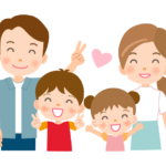 小さい子ども二人と夫婦の家族イラスト