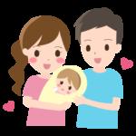 かわいい赤ちゃんと夫婦のイラスト