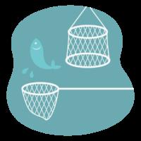 釣り/魚網のイラスト
