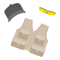 釣りベスト/帽子/サングラスのイラスト