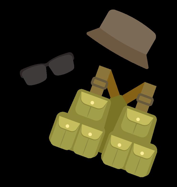 釣りベスト/帽子/サングラスのイラスト02