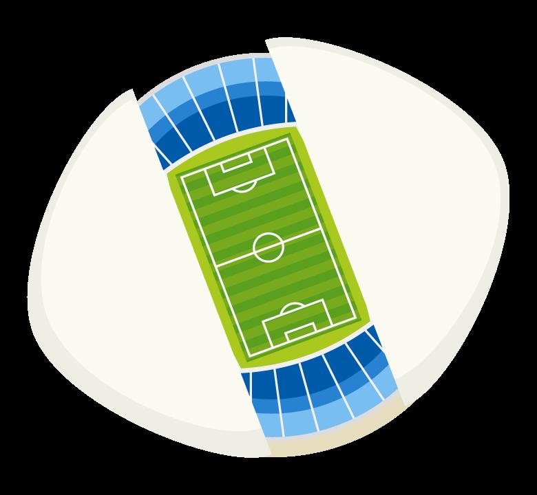 サッカースタジアム(真上アングル)のイラスト