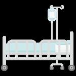 病院のベッドと点滴のイラスト