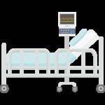 病院のベッドと医療機器のイラスト