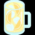 レモンサワー(ジョッキ)のイラスト