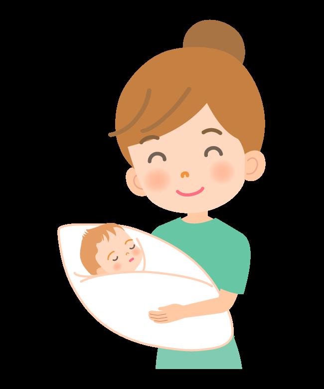 生まれたての赤ちゃんとママのイラスト