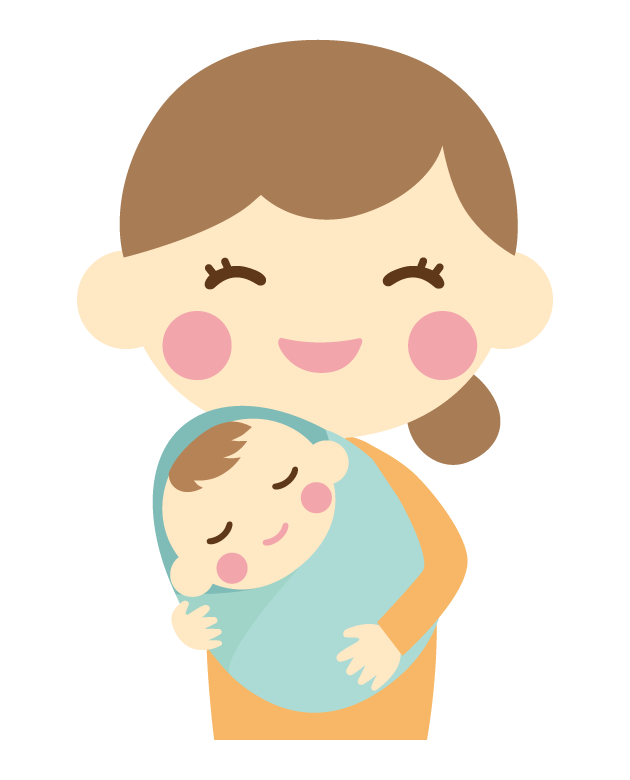 生まれたての赤ちゃんと笑顔のママのイラスト