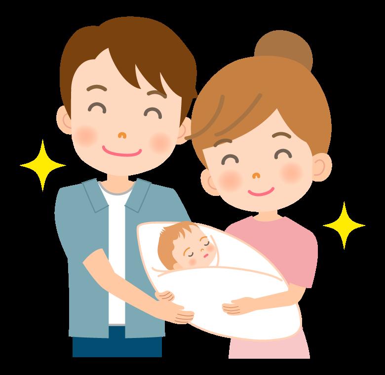 生まれたての赤ちゃんと夫婦のイラスト
