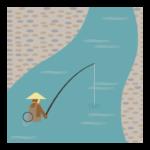 川釣りのイラスト