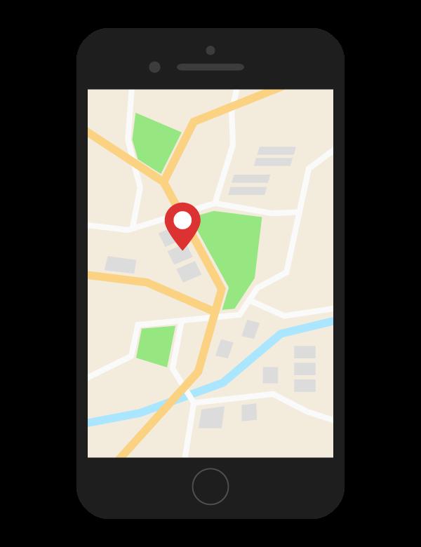 スマホの地図アプリのイラスト
