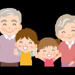 孫たちと笑顔のおじいちゃんとおばあちゃんのイラスト
