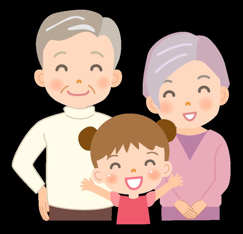 女の子の孫と笑顔のおじいちゃんとおばあちゃんのイラスト