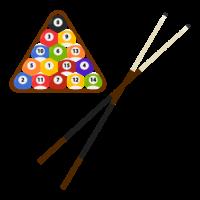ビリヤード(キューと球)のイラスト