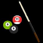ビリヤード/キュー/ボールのイラスト