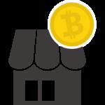 ビットコインとお店のイラスト