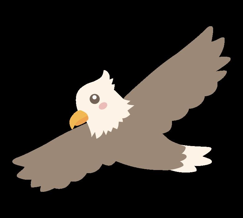 飛んでいるかわいい鷲のイラスト