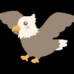 羽を広げているかわいい鷲のイラスト