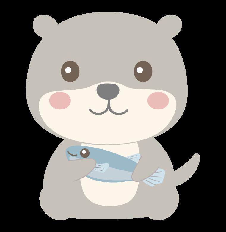 魚を持っているかわいいカワウソのイラスト