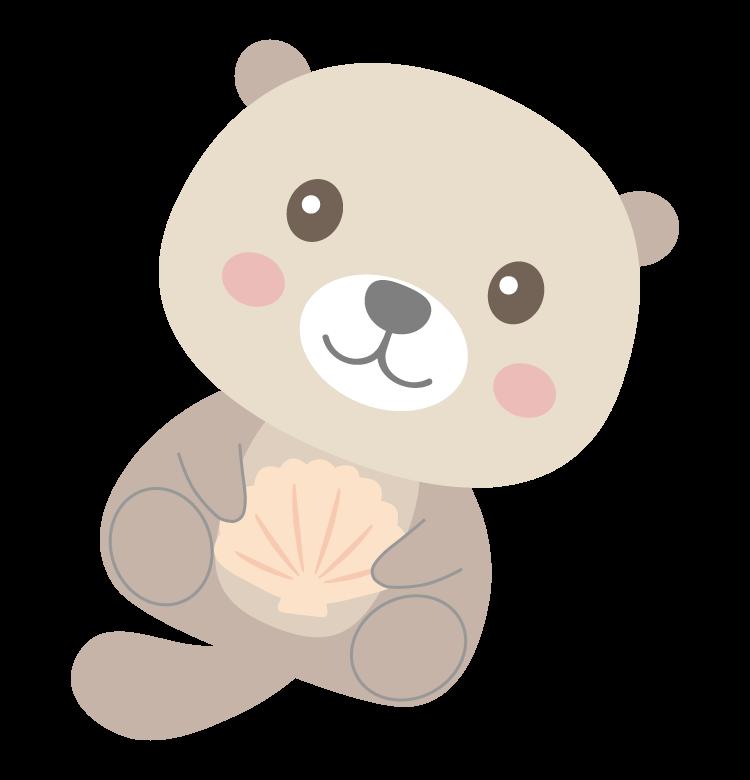 貝を持っているかわいいラッコのイラスト