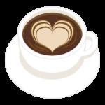 コーヒー/ハートのラテアートのイラスト