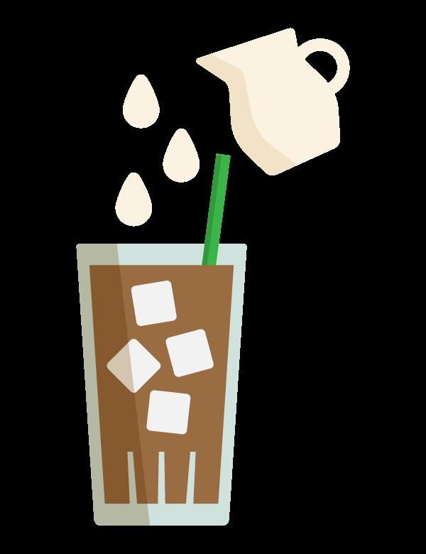 アイスコーヒーとミルクのイラスト