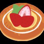 ストロベリーのデニッシュパンのイラスト