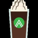クリームが乗ったアイスコーヒーのイラスト