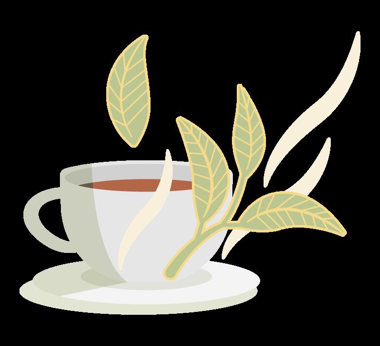 紅茶とリーフのイラスト