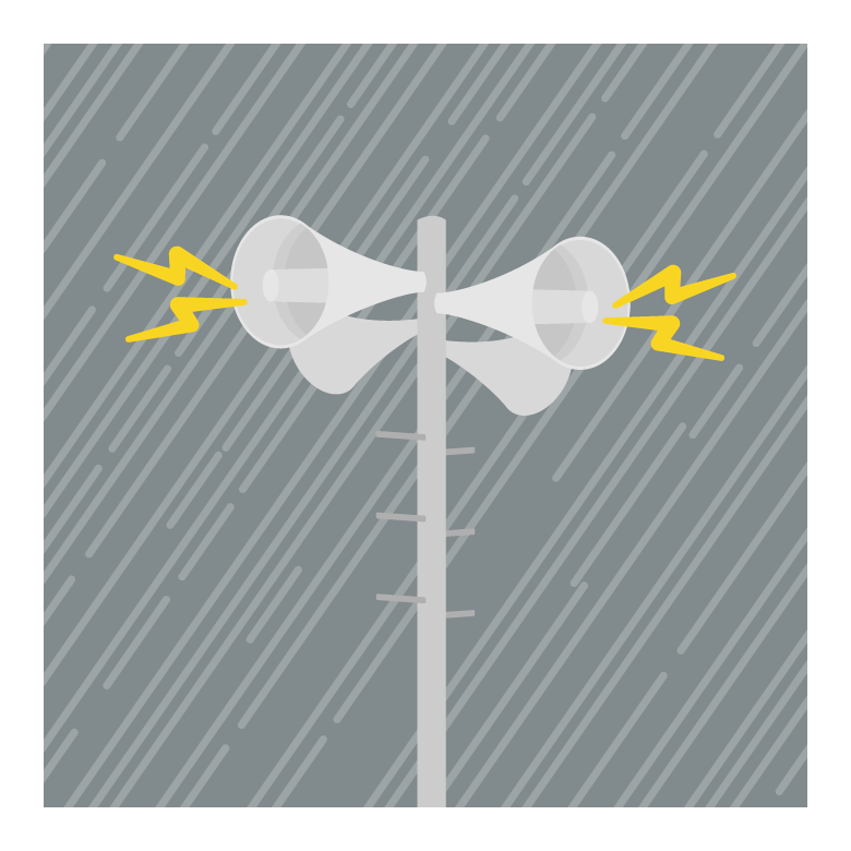 災害時の防災無線のイラスト