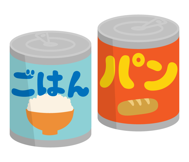 缶詰の保存食(ご飯/パン)のイラスト