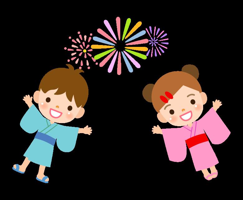 浴衣を着た子どもたちと花火のイラスト