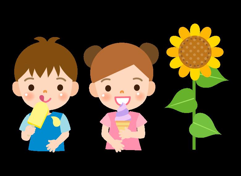 アイスを食べる子どもたちのイラスト