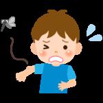 虫に刺された子ども(男の子)のイラスト