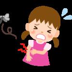 虫に刺された子ども(女の子)のイラスト