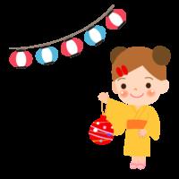 水風船を持っている女の子のイラスト